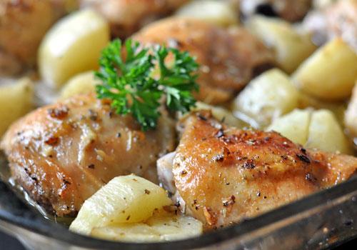 Лимонная курица с картофелем