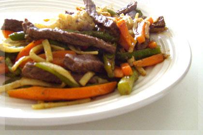 Cтир-фрай с овощами из телятины
